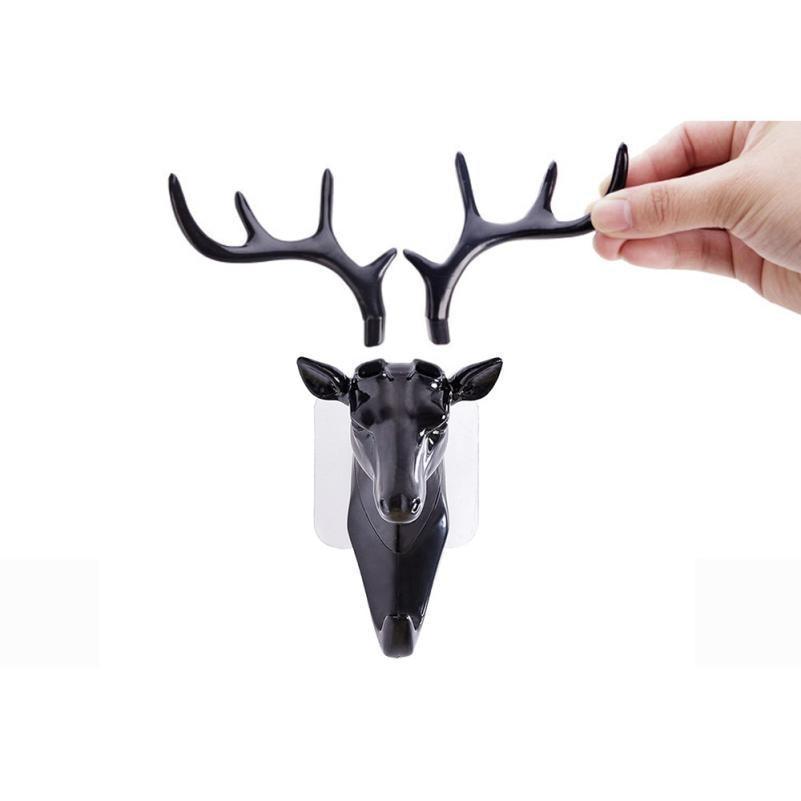 Deer-Head-Animal-Self-Adhesive-Clothing-Display-Racks-Hook-Coat-Hanger-Cap-Room-Decor-Show-Wall